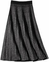 Women's Winter Reversible Stretchy Waist Knitted A Line Pleated Midi Skirt BkW28