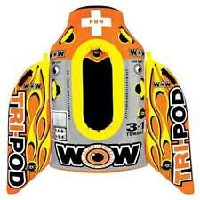 Wow Watersports Tri Pod Single Person Towable Tube w/ Handles, Orange (Open Box)