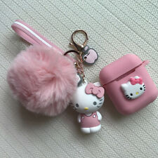 Cute Hello Kitty Pom Pom Fur Ball Strap Case Cover for Airpods Key Chain Keyring