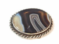 Victorian Silver Brooch Brown Banded Scottish Agate Quartz Old 'C' Catch 2e 60