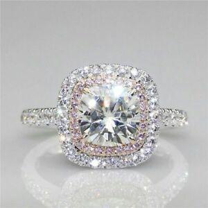 Certified 3.12ct White Pink Cushion Diamond Halo Engagement Ring 14K White Gold