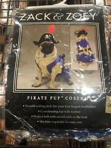 Zack & Zoey Pirate Pup Dog Costume Hat Feather Swashbuckling Machine Washable