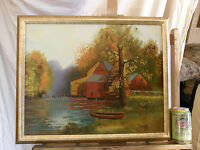 Landscape 'FARM BY THE RIVER' Vintage Oil Painting