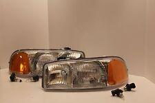 GMC WORK TRUCK Left & Right Headlights Headlamps & NEW BULBS 2003 2004 2005 2006