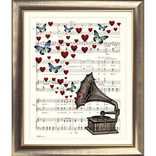 ART PRINT ORIGINAL VINTAGE MUSIC SHEET Page GRAMOPHONE HEARTS Old Picture Poster