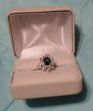 Vintage Simulated Diamond & Blue Sapphire Platinum Coated Ring Size 7