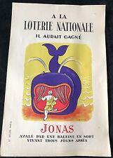 """BOUCHER LUCIEN LOTERIE NATIONALE  AFFICHE   """"JONAS AVALÉ PAR UNE BALEINE.."""" 1954"""