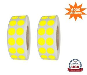 Color-Coding Dot Stickers Neon-Yellow 10MM (3/8 Inch)  6000 Labels on Rolls