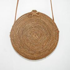 Circle Woven Basket Straw Rose Vintage Picnic Retro Festival,French Bloggers Bag