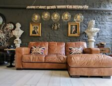 3750 Chesterfield Leather tan brown vintage 4 Seater Corner Sofa courier av