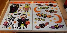 """Halloween Window Clings 13"""" x 11"""" 1/2"""" 2ea 28 Total Clings Monsters Bats 130L"""