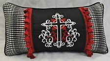 Embroidered Pillow made w/ Ralph Lauren Black Logo & Winter Cottage Plaid Fabric
