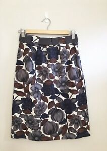 Boden Linen Blend Floral Skirt with Belt size 8