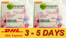 2 x Garnier Sakura White Pinkish Radiance Day Cream Serum SPF 30 Sensitive 50ml.