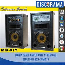 COPPIA CASSE AMPLIFICATE 1100 W USB BLUETOOTH KARAOKE DJ EXTREME SOUND MP3 SD