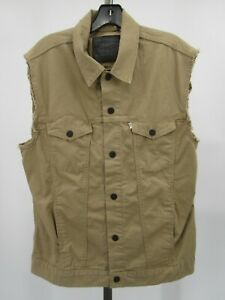 H0933 VTG 70s 80s Levi's White Label Denim Jean Trucker Vest Size L