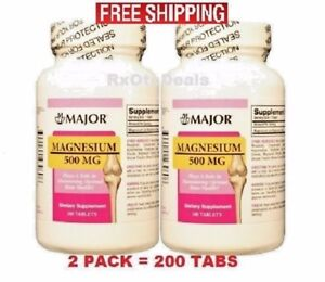 Magnesium Oxide 500mg Tablet 100ct ( 2 Pack = 200 Tabs )
