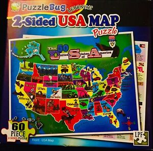 60 Piece 2 Sided Puzzle Of The USA Map. New! Factory Sealed. Ships FREE In US!