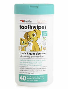 Petkin Dog & Cat Teeth Wipes Fresh Mint for Plaque & Tartar 40 Pack - Multibuy