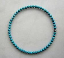 Natural turquoise Tibet silver beads 8 mm Bohemia necklace 18 inches