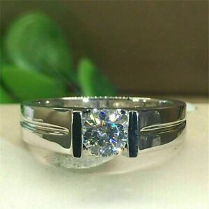 2Ct Round Cut Moissanite Men's Solitaire Engagement Ring 14K White Gold Finish