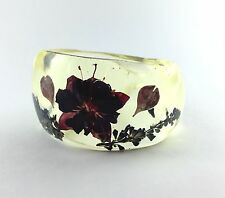 WIDE CHUNKY WAVY CLEAR BANGLE BRACELET, VINTAGE INSPIRED, REAL FLOWERS!