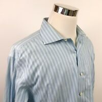 Brooks Brothers Mens 17 33 Non Iron Dress Shirt Blue Green Striped Cotton