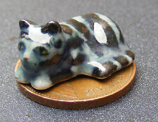 1:12 Scale Dolls House Ceramic Kitten Cat Black & Grey Thick Stripes Ornament ZN