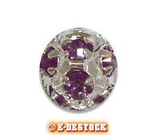 1 Perle oule strass argentée 8 mm boheme - AMETHYSTE