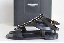 NIB Auth YSL Saint Laurent Stud T-strap Leather Flat Sandals Shoe sz 7 us / 37