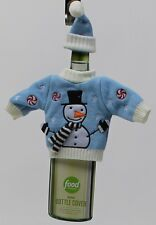 Food Network Blue Snowman Sweater Wine Bottle Cover Great Unique Gift Idea NWT