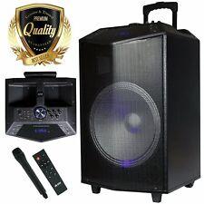 "EMB 1500W 15"" inch BLUETOOTH TAILGATE PA DJ PARTY SPEAKER LIGHTS REMOTE MIC"