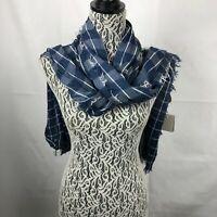 NEW Francesca's Womens Blue & White Plaid Scarf windowpane stitch Shawl NWT 47K