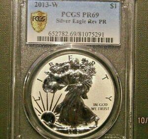 2013-W Silver Eagle PCGS MS69 Reverse Proof Gold Shield