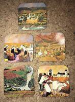 Vintage Vineyards of California Coaster Set -Guy Buffet Rare 1991 Set Of 5 Cork