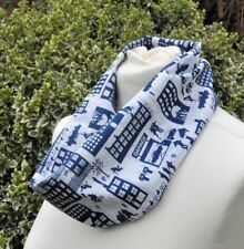 Cowl/snood Scarf in Liberty Tana Lawn cotton 'DSquared' blue white urban scenes