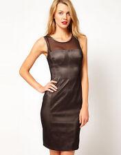 Karen Millen Double Layer Pencil Dress UK Size 12 Black Mesh Wiggle DN220