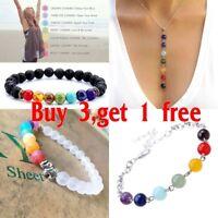 7 Chakra Healing Beaded Bracelet Natural Lava Stone Diffuser Bracelet Jewelry LY
