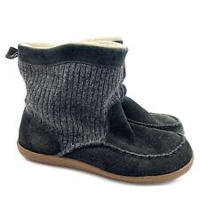 ACORN Mens Black Suede Sherpa Lined Slouchy Slipper Boots Shoes Sz 11