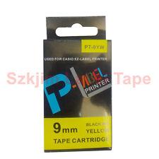 Casio Compatible xr-9yw Negro sobre amarillo de 9 mm 8m Etiqueta Cinta cw-l300 kl-60 Xr-9yw1