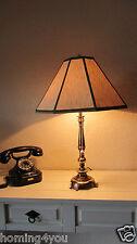 Lampe Tischlampe Messing '60er/'70er Jahre Leine konisch eckig Lampenschirm