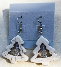 Tree Holiday Drop Dangle Earrings New Handmade Ivory Magnesite Christmas