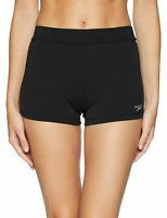 Speedo Womens Swimwear Solid Black Size Medium M Boyshort Stretch Bottom 827