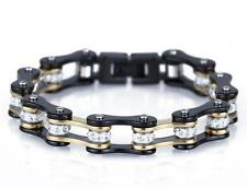 New White Crystal Drill Stainless Steel Men Women's Bicycle Gold Black Bracelet
