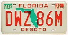 Florida 1989 Desoto County License Plate, DWZ 86M, High Quality