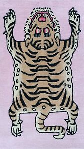 Handtufted Rectangle Tibetan Tiger Multiple Sizes Room Decoration Rug Pink