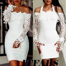 Women's Off Shoulder Floral Lace Bridesmaid Long Sleeve Party Evening Mini Dress