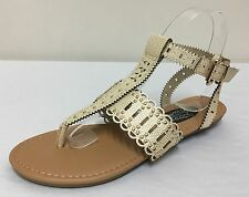 Ex New Look Gold/Cream Studed T-Bar Flat Sandals Variety Sizes 3, 4, 5, 6 ,7