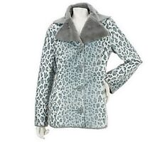 Dennis Basso Leopard Print Faux Suede Coat with Faux Fur Collar Large New