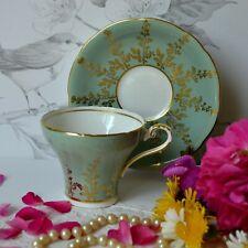 Aynsley Tea Cup and Saucer Set - Pastel Green Gold, Corset, English Bone china